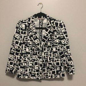TanJay Petites Dressy Geometric Print Blazer